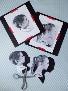 Take side profile pictures of each kid, (enlarge them if you want to) print them and cut them out, trace onto black scrapbook paper, mat on a background and frame