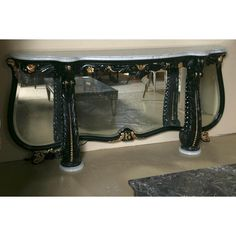 Ebonized marble-top console table by Maison Jansen. Simply stunning and fabulous console by one of the most sought after designers. The serpentine . Carrara Marble, Marble Top, East Hampton, Beveled Mirror, Room Set, Console Table, The Hamptons, Entryway Tables, Design
