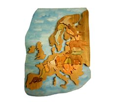 Europe - hand made continent jigsaw puzzle with typical animals