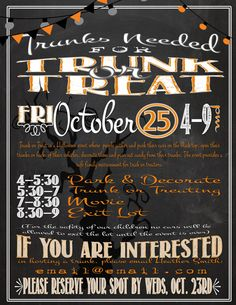 Trunk or Treat Printable Flyer / Informational Poster by Jalipeno on Etsy. Perfect for your Church, School or Neighborhood Halloween Activity Party Event! Matching trunk or treat flyer in the shop! Check my shop for more event advertising. Halloween Bridesmaid Dress, Gold Bridesmaid Dresses, Gold Bridesmaids, Festival Games, Festival Flyer, Truck Or Treat, Information Poster, Harvest Party, Fall Fest
