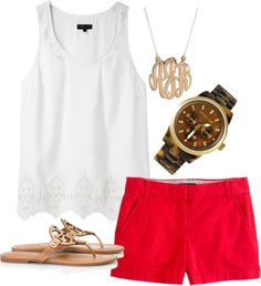 chino's, tory burch sandals, monogram necklace and adorable watch. Love this outfit for spring/ summer