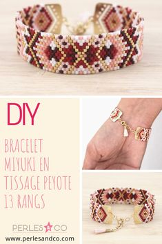 DIY Miyuki bracelet in Peyote weaving 13 rows - Delicas pearls, a pretty pompoms, tips for weaving made in Pearls & co and presto you have a canon - Bead Loom Bracelets, Beaded Bracelet Patterns, Jewelry Patterns, Beading Patterns, Beaded Earrings, Beaded Jewelry, Bracelets Crafts, Jewelry Bracelets, Embroidery Bracelets
