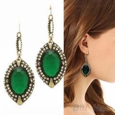 >> Click to Buy << 2014 New Hot Vintage Retro Crystal Big Green Resin Rhinestone Dangle Earrings for women 000G 01FG #Affiliate