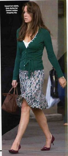 Duchess Catherine in printed skirt, green cardigan, brown handbag, and burgundy pumps