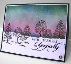 """By lbirus at Splitcoaststampers. Background masked & sponged. Beautiful colors! Uses stamp from Stampin' Up's """"Lovely as a Tree."""" by casey"""