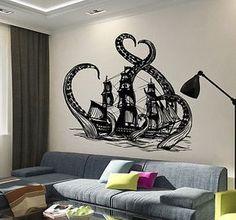 Vinyl Wall Decal Octopus Kraken Ship Nautical Ocean Teen Room Stickers (ig3640)