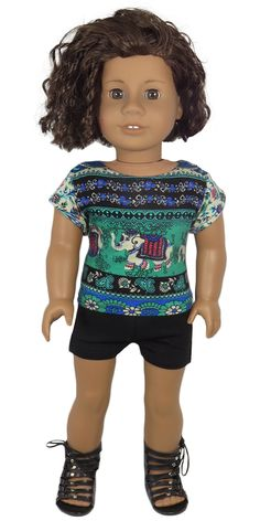 Doll Clothes for American Girl Dolls - Silly Monkey - Green and Black Elephant Top and Black Shorts, $16.00 (http://www.silly-monkey.com/products/green-and-black-elephant-top-and-black-shorts.html)