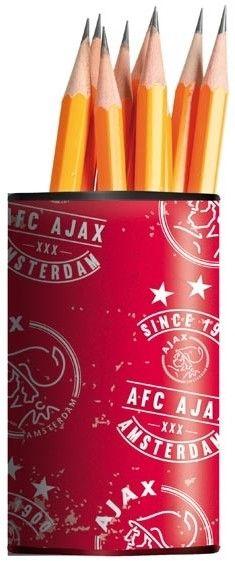 Pennenbakje van Ajax. In dit pennenbakje heb je altijd al je potloden en pennen handig bij elkaar. Op het pennenbakje is een print van Ajax afgebeeld. Geschikt voor alle Ajax-fans.   Afmeting: volgt later.. - Pennenbakje ajax rood/wit since 1900