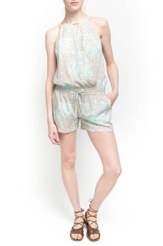 LAUREN ROMPER from Walter Baker. 100% Polyester Drawstring Shorts With Back Button Marble Seafoam $188