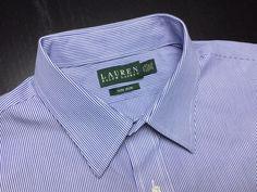 RALPH LAUREN Men's 17.5 32/33 Blue White Striped Non-Iron Long Sleeve Dress Shirt #RalphLauren | Men's Fashion & Style | Shop Menswear, Men's Clothes, Men's Apparel & Accessories at designerclothingfans.com | Find Sport Coats, Blazers, Suits, Shirts, Polos, Pants/Trousers and More...