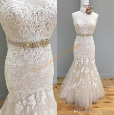 2017 Real Wedding Dresses With Beaded Sash And Sweetheart Neckline Real Photos Lace Appliques Mermaid Style Brides Gowns Custom Made Sexy Wedding Gowns Silver Wedding Dress From Uniquebridalboutique, $154.82| Dhgate.Com