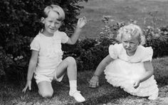 Princess Astrid of Norwaywith her maternal 1st cousin, Prince (later King) Baudouin of Belgium, the son of her aunt, Queen Astrid of Belgium (nee Princess Astrid of Sweden), after whom little Astrid was named.