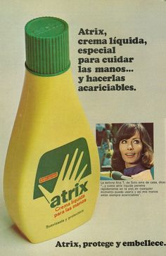 "https://flic.kr/p/qKVxWh | 1974 Beauty Ad, Atrix Hand Lotion (lengua española revista) | Advert tagline in Spanish: ""Atrix, crema líquida, especial para cuidar las manos... y hacerlas acariciables. Atrix, protege y embellece.""  Rough translation in English: ""Atrix, liquid cream, special care for the hands... and to make them cuddly. Atrix, protects and beautifies.""  Published in Buenhogar (women's Spanish language magazine), July 16, 1974, Vol. 14 No. 9  Fair use/no known..."