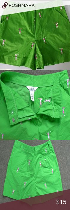 Vintage Lilly pulitzer lime green shorts So cute, embroidered lady golfers on front and rear. Good condition. Cotton and spandex blend.  About 14.5 inches from the waist to the hem. Lilly Pulitzer Shorts