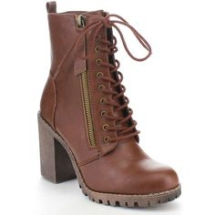 SODA MALIA Women's Stitching Lace Up Side Zipper Chunky Heel Ankle... ($36) ❤ liked on Polyvore featuring shoes, boots, ankle booties, laced up boots, side zip booties, chunky heel ankle booties, thick heel lace up booties and chunky-heel boots