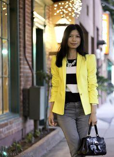 Yellow Blazer, black & white striped blouse.