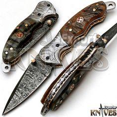 Knives Exporter Custom made Damascus Steel Folding Knife, Ram Horn Handle KE-F84 #KnivesExporter