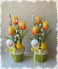 DIY Beautiful Bouquet of Crepe Paper Crocuses - Two Ideas ! Easter Flower Arrangements, Easter Flowers, Flower Centerpieces, Centerpiece Ideas, Easter Projects, Easter Crafts, Easter Table, Easter Eggs, Spring Crafts