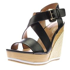 a803efdfb362 Call It Spring 8565 Womens Lalisen Black Wedge Sandals Shoes 8 Medium (B