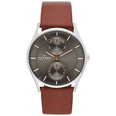 Buy Skagen Men's Holst Single Chronograph Leather Strap Watch, Black/Silver from our Men's Accessories & Watches Offers range at John Lewis & Partners. Mens Watches Leather, Leather Men, Watches For Men, Skagen Watches, Men's Watches, Watches Online, Stil Inspiration, Brown Leather Strap Watch, Saddle Leather