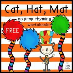 Free-This set of 5 worksheets has students distinguish between two different rhymes and color the trees to match the correct answer. Perfect for Read Across America! Dr. Seuss, Dr Seuss Week, Rhyming Worksheet, Worksheets, Dr Seuss Activities, Book Activities, Rhyming Words, Cat Hat, Kindergarten Activities