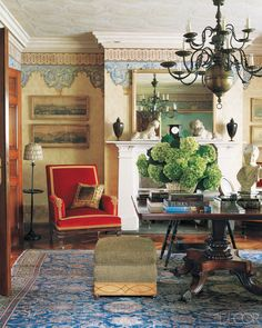 The Milan-based duo of Roberto Peregalli and Laura Sartori Rimini specializes in baronial rooms that are steeped in history without being tied to any period.
