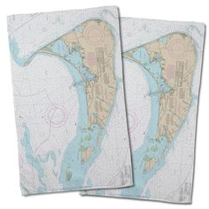 Nautical Chart Nantucket, MA Hand Towel