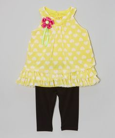 Another great find on #zulily! Yellow Heart Ruffle Tunic & Leggings - Infant, Toddler & Girls by Real Love #zulilyfinds