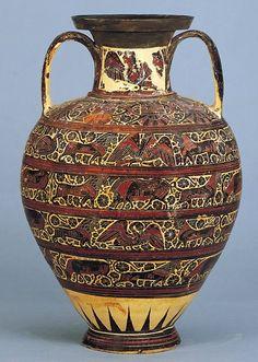 Anfora Corinzia, ca. 620 a.C., ceramica dipinta a figure nere. Da Rodi, Grecia. Walters Art Museum, Baltimora (Maryland), USA.