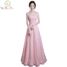 100% Real Images Pink Lace Long Elegant Prom Dresses Deep V neck Sexy Party Dress Evening Dresses Special Occasion Dresses