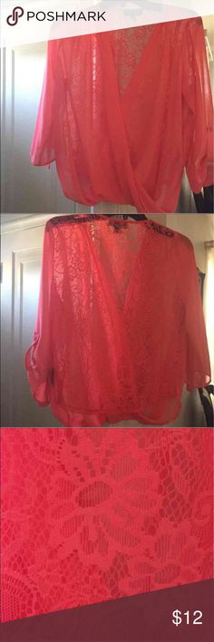 BCX  Peach Blouse Looks like new peach blouse size M chiffon fabric and lace on the back only missing one bottom on the sleeve Great condition BCX Tops Blouses