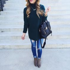 mock turtleneck sweater, jeans, ankle booties