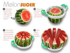 Melon Slicer™: A Melon Slicer that is easy to use and gets the job done in seconds. Melon Slicer. It's as swift as an apple slicer, and just as easy to use! Sized for small melons like cantaloupes, Tuscan melons, mini watermelons and honeydew, this cutter turns out 12 uniform pieces with just a push. Easy-grip handles provide leverage as you slice.   #kitchen #cooking #Baking #gadgets #tools #Appliances