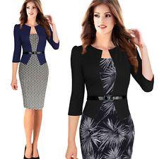 sexy elegant women Summer formal office business peplum ruffle pencil dresses