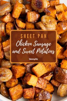 Sheet-Pan Chicken Sausage and Sweet Potatoes Skinny Recipes, Ww Recipes, Easy Healthy Recipes, Veggie Recipes, Chicken Recipes, Cooking Recipes, Slow Cooker Recipes, Healthy Food, Yummy Food
