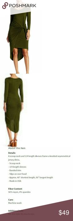 OLIVIA OLIVIA. This is a sleek sexy dress in this season's hottest color. Simply add a gold statement necklace and heels to this dark olive green dress and you are set to go. Jersey material, 3/4 sleeve length, sexy asymmetrical hemline and slip knot accent. Reserve your size NOW!!! Arriving 12/28/16 Dresses Asymmetrical