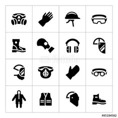 Wektor: Set icons of personal protective equipment