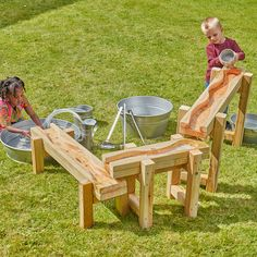 This natural wooden channelling system will demonstrate different speeds of water flows, drips and splashes. Water Playground, Backyard Playground, Backyard For Kids, Diy For Kids, Backyard Ideas, Outdoor Play Spaces, Outdoor Fun, Outdoor Classroom, Christmas Tree Farm