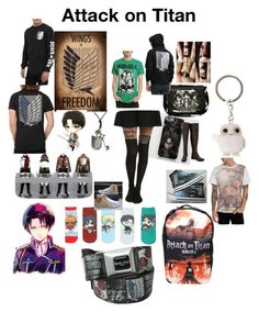 """""""Attack on Titan anime"""" by suzinjersey ❤ liked on Polyvore featuring Converse, Levi's, Akiko and anime"""