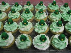 Marshmallow Buttercream St. Patty's Day Cuppies.