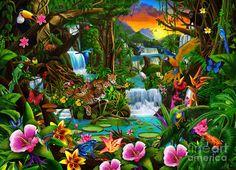 Needlework diy diamond painting diamond embroidery landscape tropical forest square drill full pictures of rhinestones Jungle Scene, Jungle Art, Jungle Animals, Fine Art Amerika, Paradise Pictures, 3d Foto, Hawaiian Art, Wildlife Art, Art Plastique