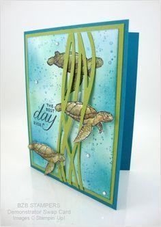 handmade greeting card with an underwater scene ... die cut Swirtly Bird lines serves as kelp ... turtles swim through ... great card!