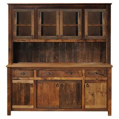 China cabinet crafted of hand-peeled Northern white cedar logs. Made in the USA.