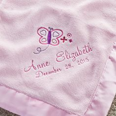 Pretty Butterfly Personalized Pink Baby Blanket - Newborn - Baby | Personalized Planet