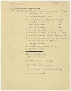 """Image courtesy Harry Ransom Center All the alternative lines before """"Frankly My Dear, I don't give a Damn"""" was written"""