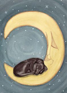 Black labrador retriever (black lab) sleeping on Moon / Lynch signed folk art print. $12.99, via Etsy.