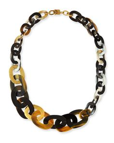 Laini Mixed Horn & Bronze Necklace by Ashley Pittman at Bergdorf Goodman.