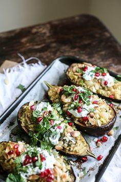 middle eastern bulgur stuffed eggplants