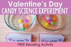 Valentine's Day Science Activity: Dissolving Candy Hearts in Varying Temperatures (Teaching with Jennifer Findley) Reading Activities, Science Activities, Candy Experiments, Valentines Day Activities, Valentine Ideas, Sweetheart Candy, Stem Classes, Free Math, Free Printables