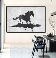 Hand Painted minimal art on canvas, black and white horse painting, modern art from CZ ART DESIGN. @CeilneZiangArt